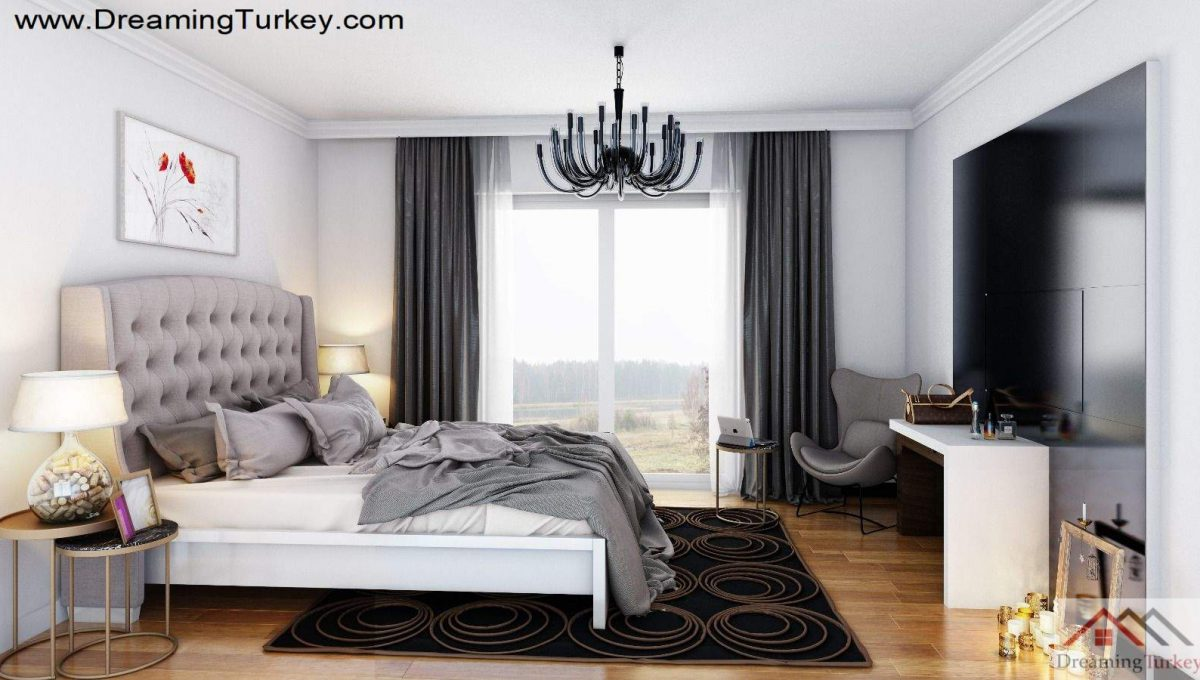 Bedroom Inside a Modern Complex Close to Highway in Istanbul 1+1