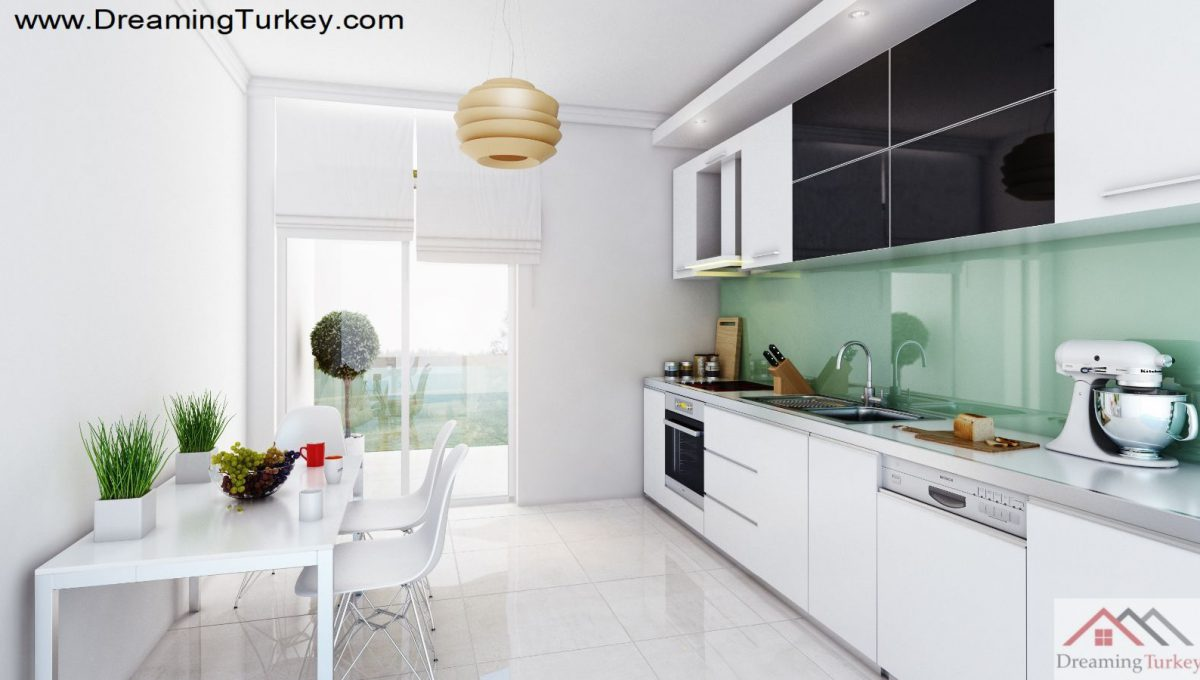 Kitchen Inside a Modern Complex Close to Highway in Istanbul 1+1