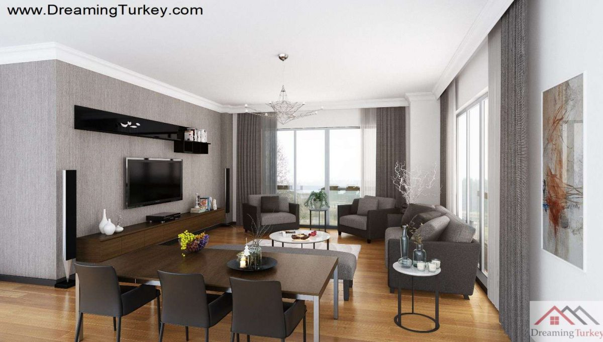 Living Room Inside a Modern Complex Close to Highway in Istanbul 1+1
