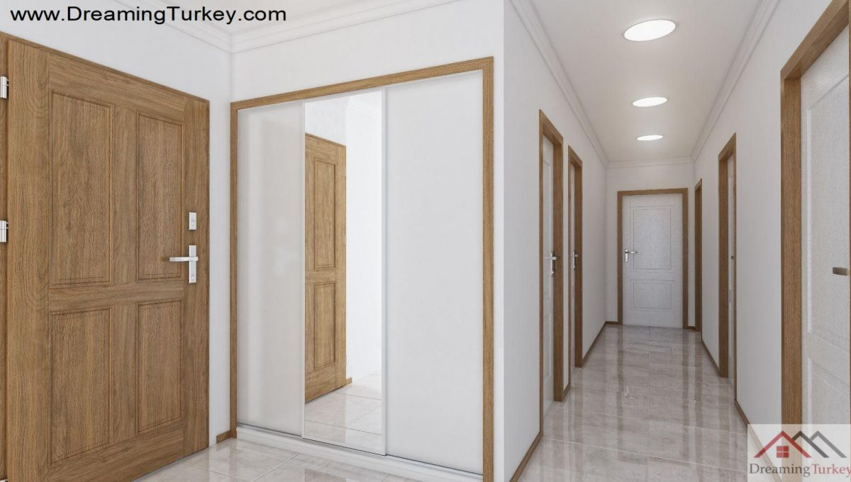 Corridor Inside a Modern Complex Close to Highway in Istanbul