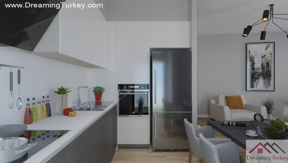 Kitchen in an Apartment Near the Lake in Istanbul