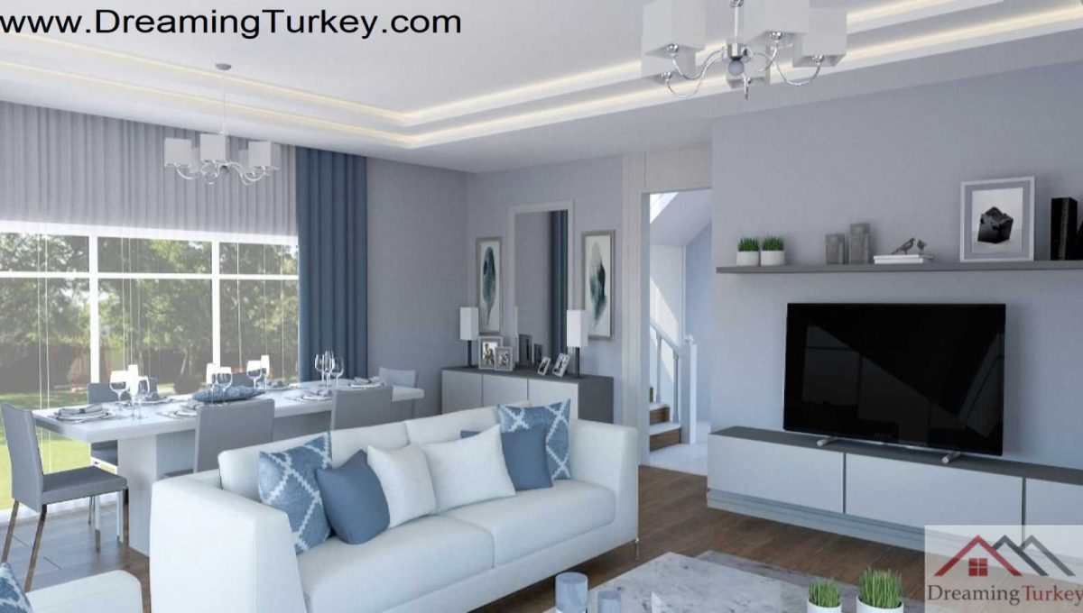 Living Room in Triplex Villa with a Sea View in Istanbul