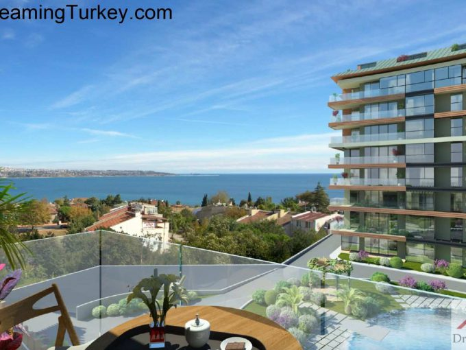 Terrace with a Sea View in a Modern Complex in Istanbul