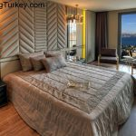 Bedroom with a Sea View in a Modern Complex in Istanbul