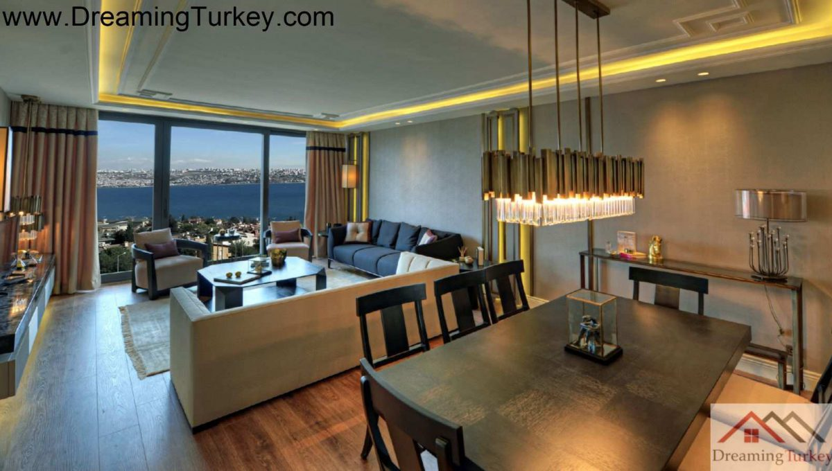 Living Room with a Sea View in a Modern Complex in Istanbul