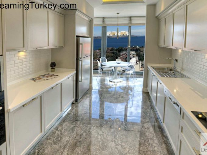 Kitchen with a Sea View in a Modern Complex in Istanbul