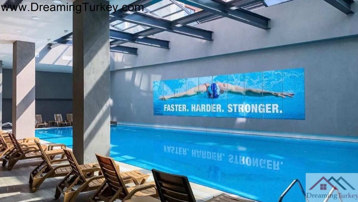 Swimming Pool with a Sea View in a Modern Complex in Istanbul