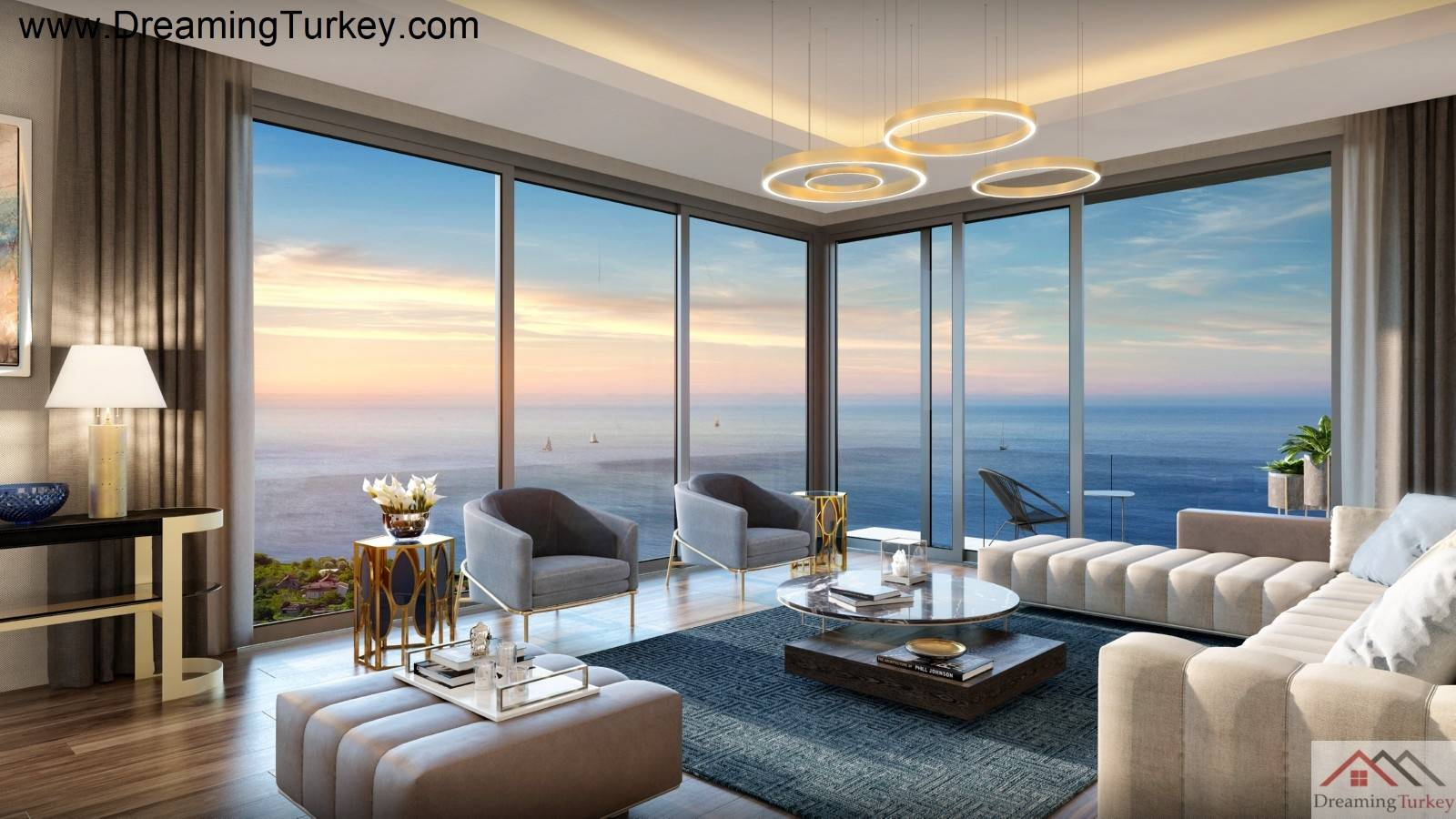 5-Bedroom Duplex with a Yard & 2 Living Room in a Complex Close to the Sea in Istanbul