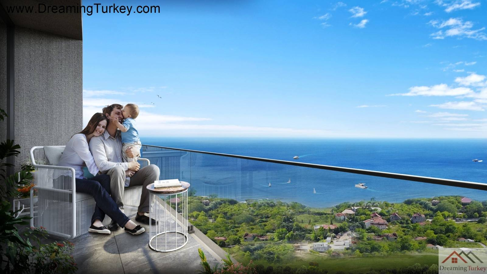 6-Bedroom Duplex with a Yard & 2 Living Room in a Complex Close to the Sea in Istanbul