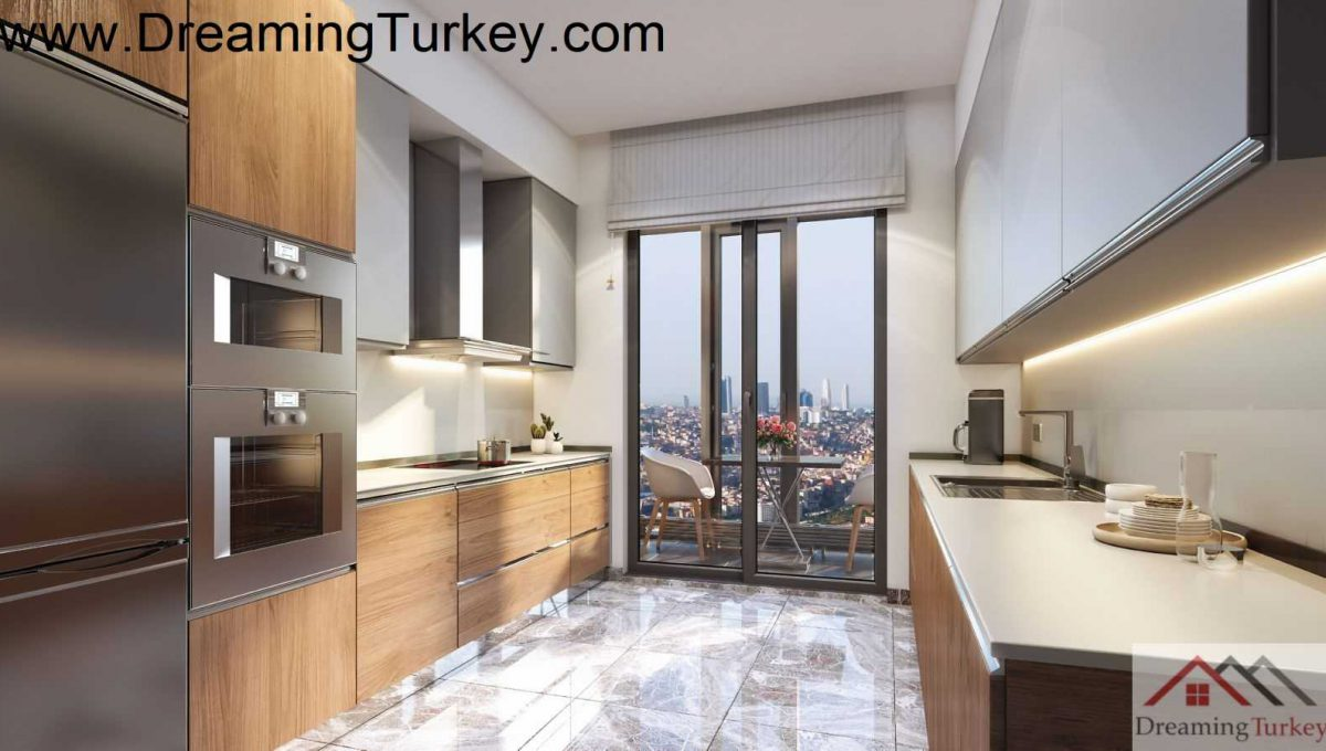 Residence inside a Skyscraper with a Forest View in Istanbul 3+1