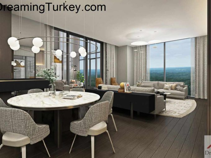 Residence inside a Skyscraper with a Forest View in Istanbul 4+1