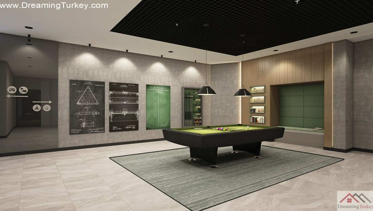 Billiard Room Inside a Fully Equipped Complex in Istanbul
