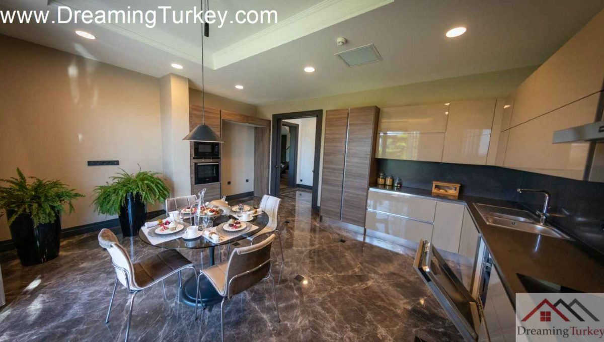 Kitchen Villa with a Lake View in a Complex in Istanbul